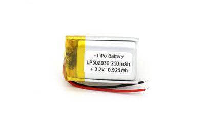 250mAh Lithium Polymer Battery LP502030 3.7V 0.925Wh